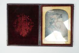 A Victorian cased Daguerreotype portrait of a gentleman, 12 cm x 9.5 cm