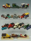 Vintage die-cast and other toy vehicles including a Dinky 492 loudspeaker van, Lesney No 53 Aston