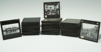A quantity of early 20th Century monochrome photographic magic lantern slides largely depicting