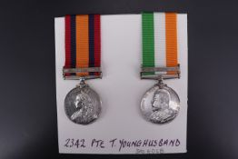 Queen's and King's South Africa medals to 2342 Pte T Younghusband, 3rd KOSB