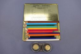 """A Cumberland Pencil Co, Keswick, """"Lakeland"""" colour pencils set, circa 1960s, together with a pair of"""