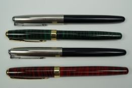 Two Parker 501 fountain pens together with two BAOER 388s
