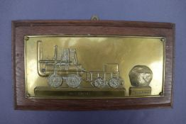 An early 20th Century brass plaque depicting and commemorating George Stephenson's Darlington &