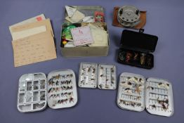 A Wheatley and one other fly box and flies, together with a fly fishing reel etc