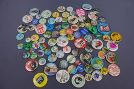 A large collection of 1970s and other button badges