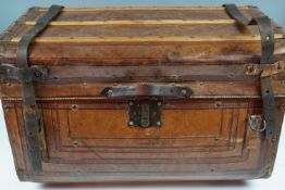A late 19th / early 20th Century Sole Leather travel trunk, stencil-marked 2 Lt C Millar, 4th Bt