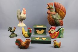 A group of contemporary carved and painted ornaments, boxes etc modelled as chickens, together