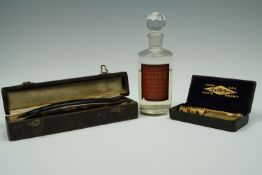 """A cased pair of early 20th Century cutthroat razors, a Gillette safety razor and """"Best Double-"""