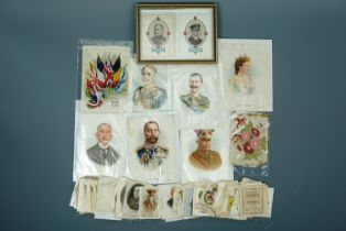 Great War and other cigarette silks including framed portraits of General Sir Douglas Haig and