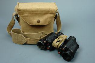 A set of 1942 British army No 2 Mk II binoculars in 1943 dated Pattern 1937 case