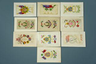 10 Great War silk postcards,