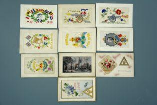 10 Great War silk postcards