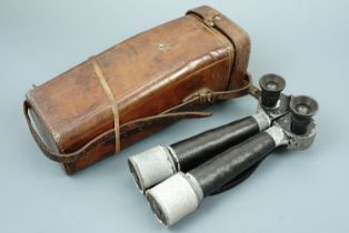 An Imperial Japanese army binocular periscope and case, 10 x 4°, maker-marked KH within a lozenge,
