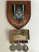 A Second World War and Palestine RAF medal group, comprising Defence and War Medals with General