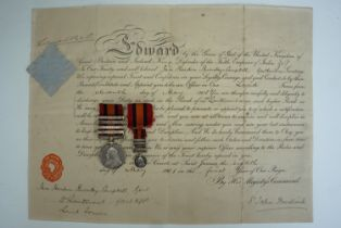A Queen's South Africa medal with four clasps, engraved to 2 / Lt I H Burnley - Campbell, A & S