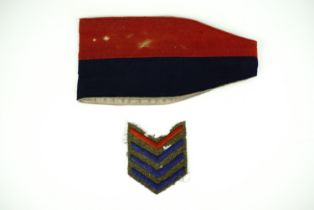 A Great War General Headquarters Staff armlet, together with overseas chevrons