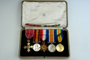 A Boer War and Great War medal group, comprising MBE, Queen's Mediterranean Medal impressed to Lieut