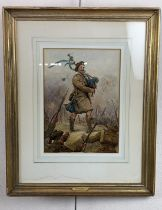 """A watercolour portrait of Piper Daniel Laidlaw, playing """"Blue Bonnets over the Border"""" standing atop"""