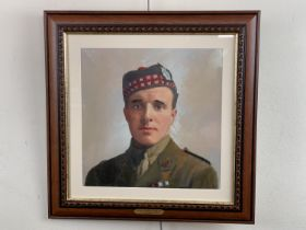 [Victoria Cross / Medal] A portrait of Captain Noel Chavasse VC and Bar, MC, acrylic, late 20th