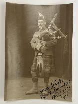 [Victoria Cross / Medal / Autograph] A signed portrait photograph of Piper Daniel Laidlaw, VC, KOSB,