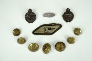 A group of Great War Tank Corps insignia including a 1917 silver brooch by the Goldsmiths' and