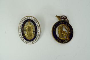 Two Great War British Union / Anti-German Union enamelled lapel badges