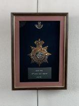A framed Victorian King's Shropshire Light Infantry officer's Home Service / blue cloth helmet