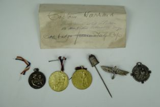 Lalique designed and other Great War French patriotic pin badges and fob medallions