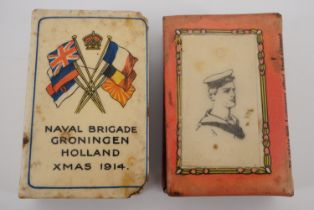 A Great War Naval Brigade Groningen Holland Xmas 1914 Celluloid matchbox cover and one other