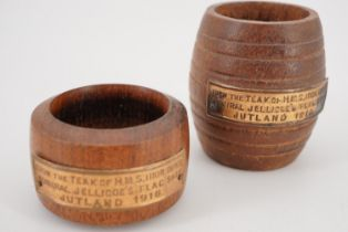 A match pot and napkin ring turned from teak salvaged from HMS Iron Duke