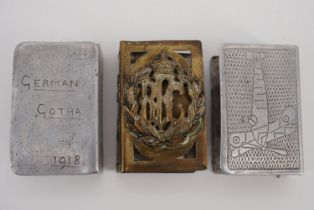 """A Great War trench art matchbox cover engraved """"German Gotha, 1918"""", one other depicting an RFC"""