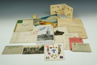 A quantity of largely Second World War military ephemera together with a Royal Engineers cap badge