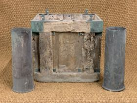 A wreck recovered late Victorian / early 20th Century Royal Navy ammunition chest, containing two