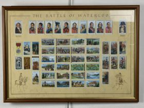 """Framed the """"Battle of Waterloo"""" cigarette cards, 68 x 48 cm"""