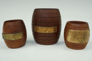 Two match pots turned from wood of HMS Iron Duke, together with one other from HMS Ganges