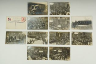 A group of Great War photographic postcards including a portrait of a member of the First Aid