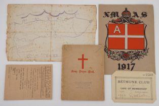 Sundry items of Great War military ephemera comprising a 1916 Bethune Club membership card, a hand-