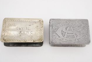 Two Great War personalised trench art matchbox covers