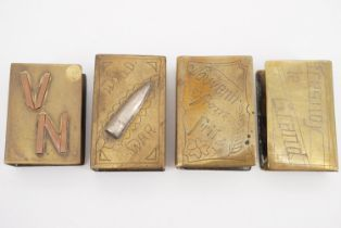 Four Great War hand-engraved brass trench art matchbox covers