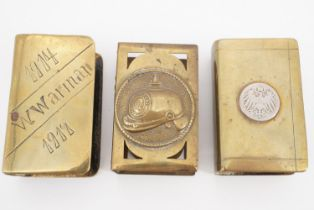Three Great War trench art and other matchbox covers incorporating German emblems etc