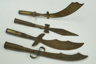 Four Great War trench art paper knives with rifle cartridge handles