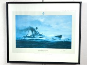 """After Robert Taylor """"The Last Moments of HMS Hood"""", first edition print signed by HMS Hood"""