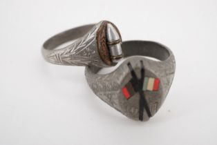 Two Great War trench art finger rings