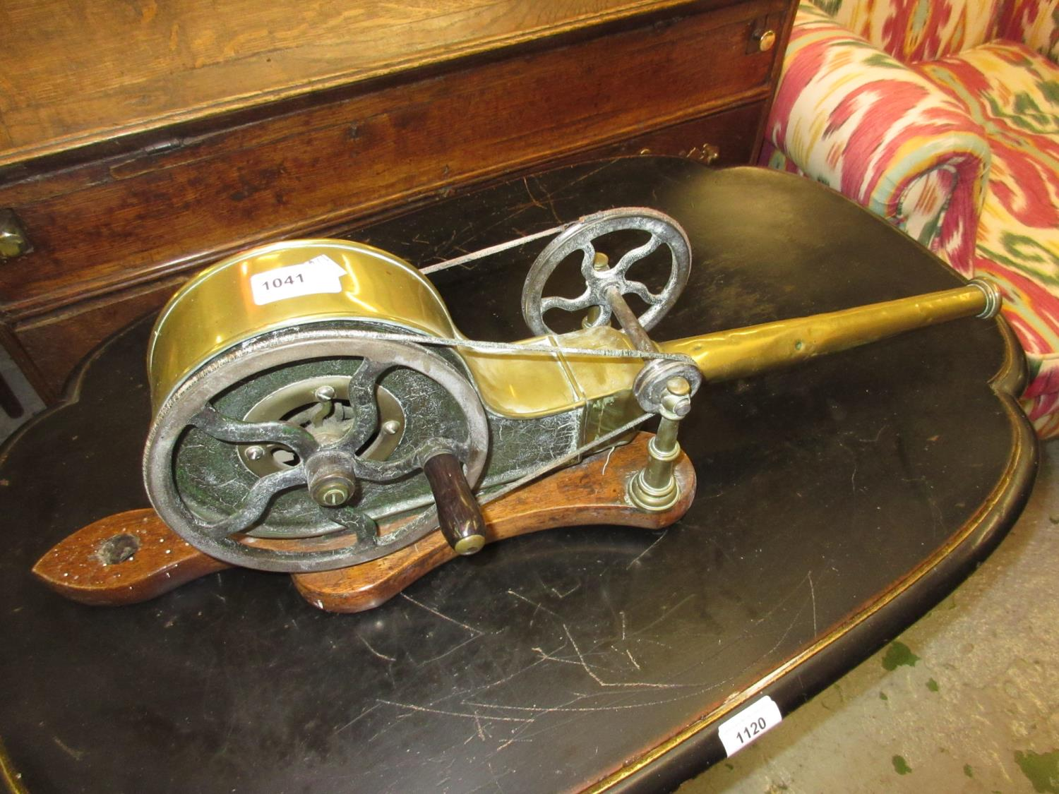 18th/19th Century brass hand cranked mechanical bellows on a mahogany stand