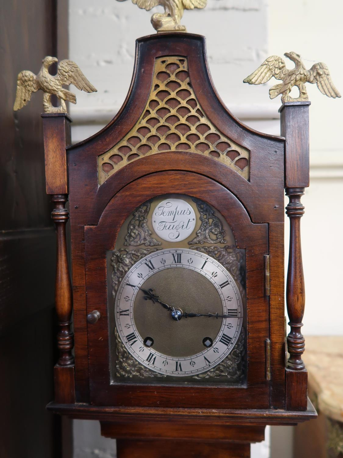 Unusual mid 20th Century walnut longcase clock of narrow proportions in 18th Century style, the - Image 2 of 3