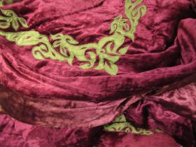Large vintage velvet bedcover, approximately 9ft square Various areas of fading as shown in photos
