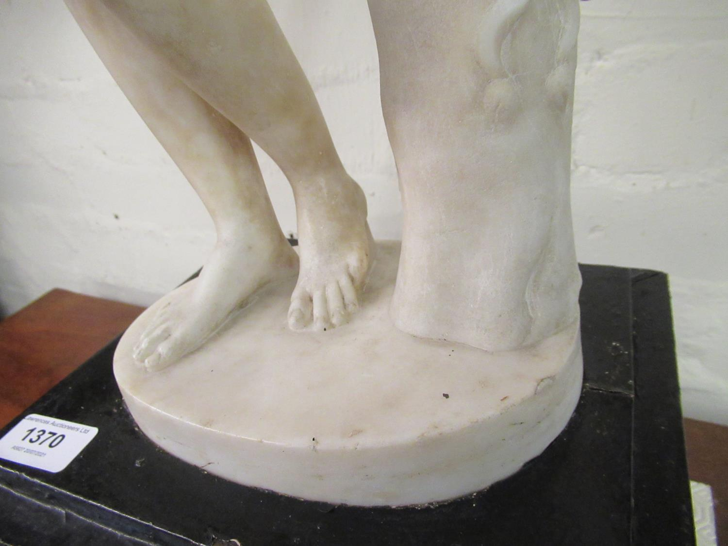 19th Century carved marble figure of Apollo leaning on a tree stump with quiver, 24ins high ( - Image 10 of 16