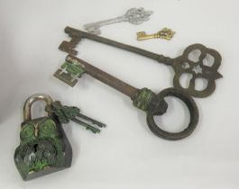 Modern padlock in the form of an owl with two keys and four various other keys