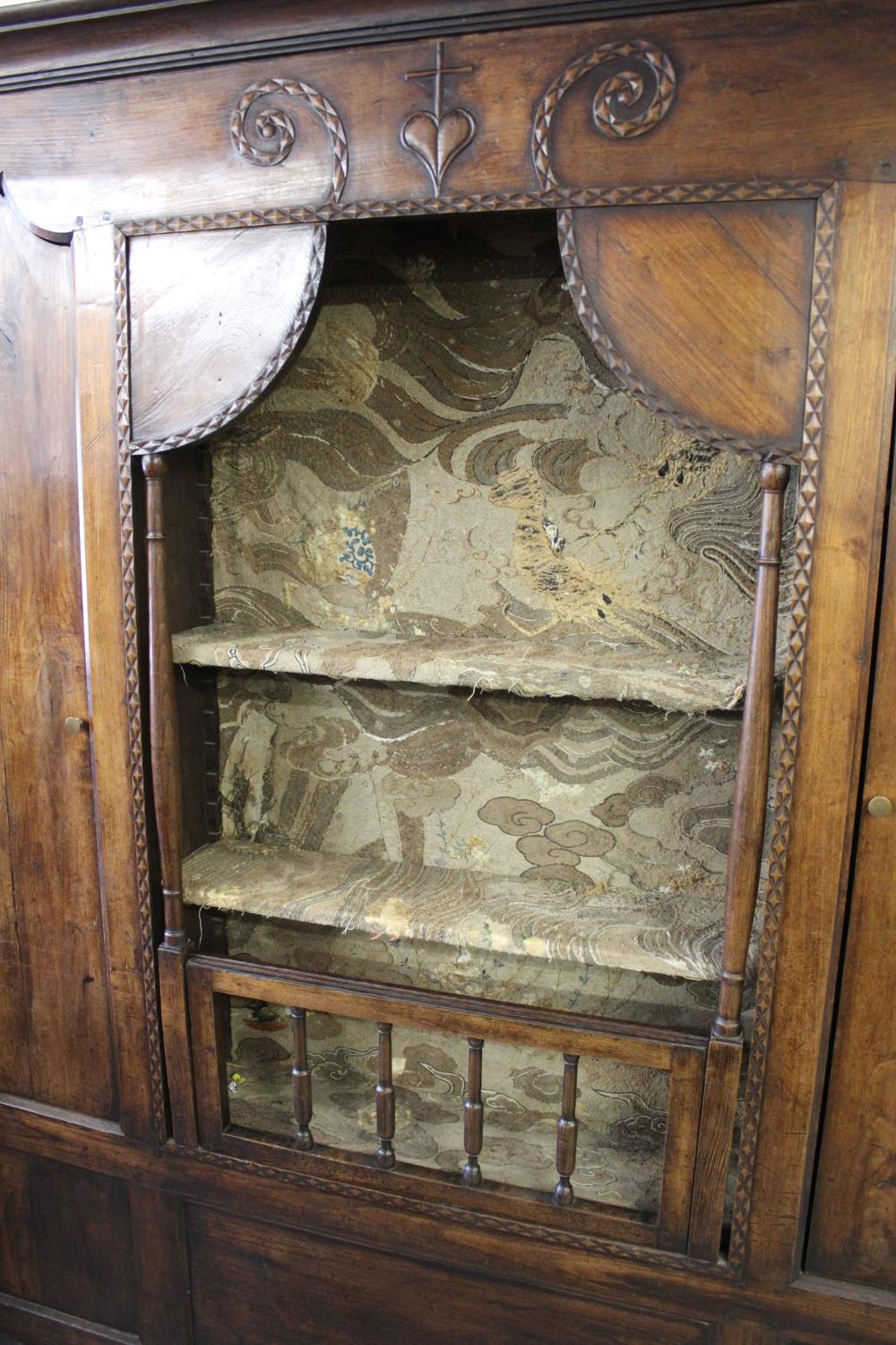 Large 19th Century French fruitwood shallow side cabinet, the moulded cornice above a carved frieze, - Image 2 of 2
