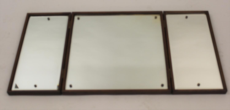 Attributed to Kai Kristiansen 1960's Danish teak triple dressing table / hanging mirror, 19.5ins